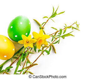 Easter eggs with spring flower greeting card - Easter eggs...