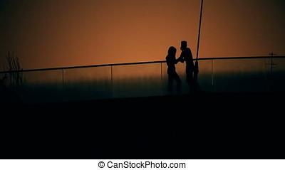 Dusk Backlit Couple Silhouette - Couple Silhouette duksk...