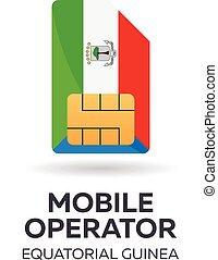 Equatorial Guinea mobile operator. SIM card with flag....