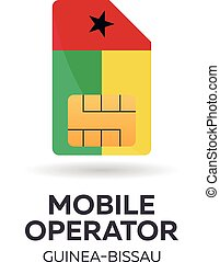 Guinea Bissau mobile operator. SIM card with flag. Vector...