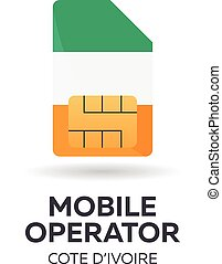 Cote Divoire mobile operator. SIM card with flag. Vector...