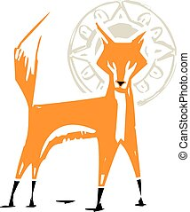 Woodcut Fox with Halo - Woodcut style image of a red fox...