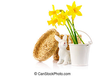 Easter rabbit eggs spring flowers narcissus branch green...