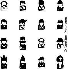 Avatar Icons Set 4 Freehand Fill - This image is a...