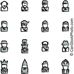 Avatar Icons Set 4 Freehand 2 Color - This image is a...