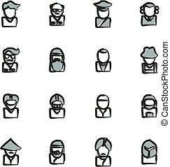 Avatar Icons Set 3 Freehand 2 Color - This image is a...