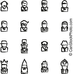Avatar Icons Set 4 Freehand - This image is a illustration...
