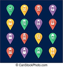 Avatar Icons Set 4 Flat Design Pin - This image is a...