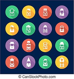 Avatar Icons Set 4 Flat Design Circle - This image is a...