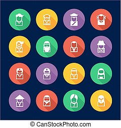 Avatar Icons Set 3 Flat Design Circle - This image is a...