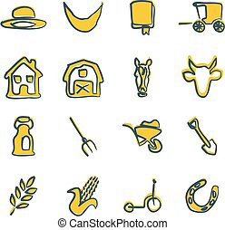 Amish Icons Freehand 2 Color - This image is a illustration...