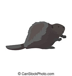 Canadian beaver. Canada single icon in monochrome style...