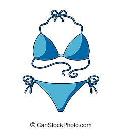 Blue swimsuit for women. Summer rest single icon in cartoon style vector symbol stock illustration.
