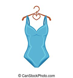 Monotone blue swimsuit for girls. Bathing clothes in the...