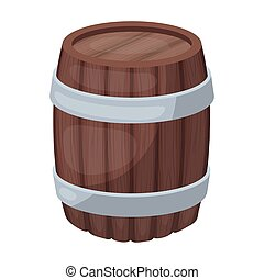 Oak barrel beer. A barrel in which beer is brewed. Pub single icon in cartoon style vector symbol stock illustration.