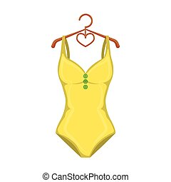 Monotone yellow swimsuit for girls. Bathing clothes in the...