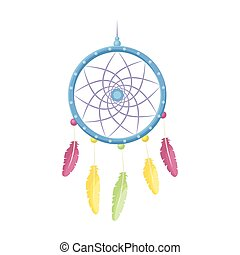 Dream catcher with feathers.Hippy single icon in cartoon...