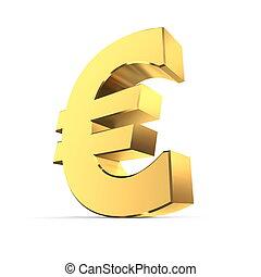 Shiny Euro Symbol - Golden Surface