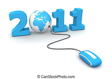 Browse the Blue New Year 2011 - Blue Mouse and Globe -...