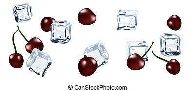 Vector Ice cube with berry cherry isolated
