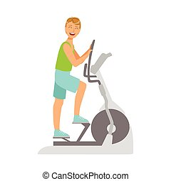 Young man working out using elliptical trainer. Active sport...