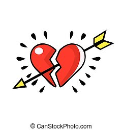 Broken red heart pierced with an arrow, vector comic illustration