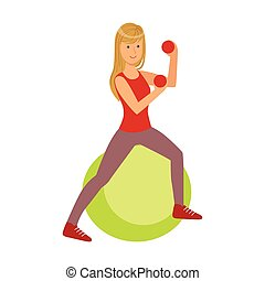 Young blond woman exercising on green fitball, with red dumbbells in her hands. Colorful cartoon character