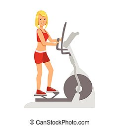 Blond woman working out using elliptical trainer. Colorful...