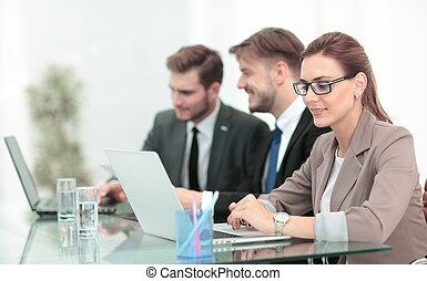 fonctionnement,  Business, bureau,  Photo, moderne, jeune, équipe