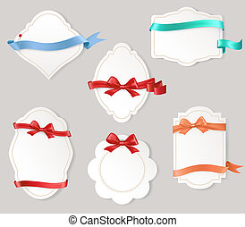 Set of paper form with satin ribbons and bows - set of...