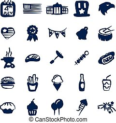 4th Of July Icons Freehand Fill