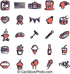 4th Of July Icons Freehand 2 Color