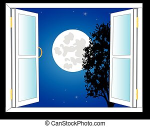 Open window and moon night - Open window with view on moon...
