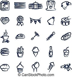 4th Of July Icons Freehand