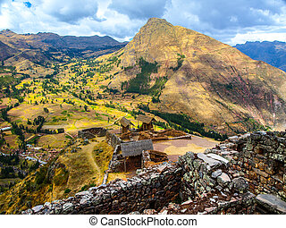 Inca fortress ruins Pisaq in Urubamba river Sacred Valley,...