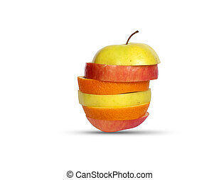 Several layers of sliced fruit isolated on white background