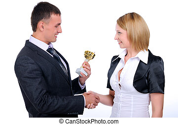 young business man presents his gift - A young business man...