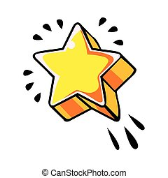 Five pointed yellow star, vector comic illustration in pop art retro style