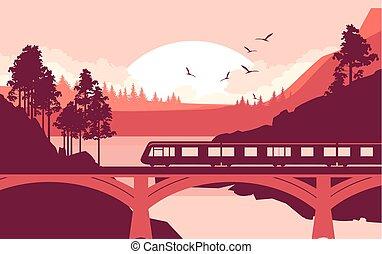 Train bridge river