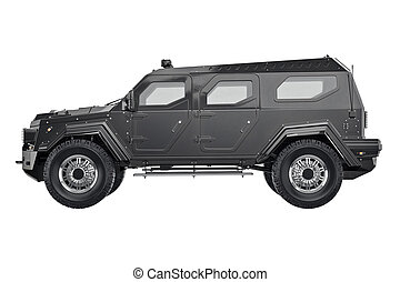 Suv car, side view - Suv car black, side view. 3D rendering