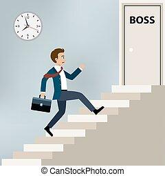 Businessman running to boss office. - Businessman running...
