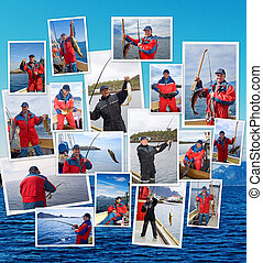 A collage of fishing in Norway