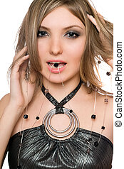 Portrait of pretty girl with a bead