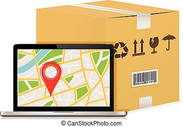 Carton parcel box and laptop with gps map.