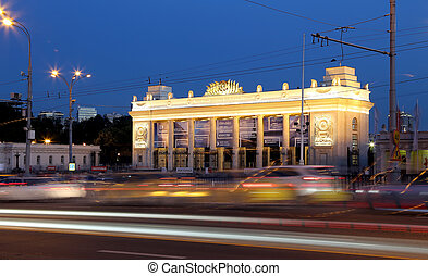 Main entrance of Gorky Park in Moscow, Russia (Night view)....