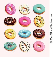 Set of donuts - Big vector set of varicolored glazed donuts