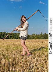 verano, guadaña,  teengirl, campo