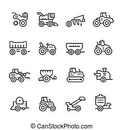 Set line icons of agricultural machinery isolated on white....