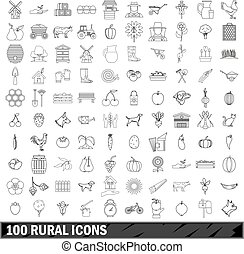 100 rural icons set, outline style