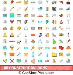 100 construction icons set, cartoon style - 100 construction...